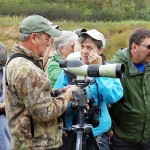 Scott Bills and Deb Takach of the Duncannon Outdoor Club discuss bird identification.