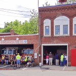 Festival goers attend a presentation at the Duncannon firehouse