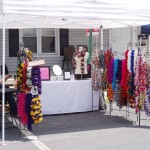 Wanda sells her hook and needle crafts at Duncannon's AT Festival