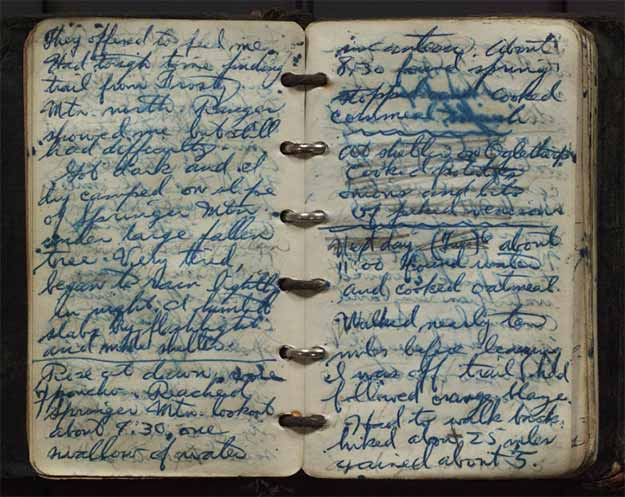 Earl Shaffer hand-written 1948 trail diary