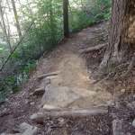 New step a the switchback near the top of Cove Mountain.