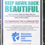 Sign asking people to keep Hawk Rock Beautiful near Duncannon PA