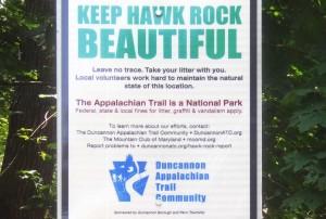 Keep Hawk Rock Beautiful - Duncannon AT Sign