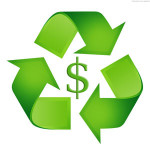 Recycling logo wrapped around a dollar sign